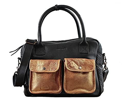 LE DANDY Noir Doré sac bandoulière cuir style vintage PAUL MARIUS