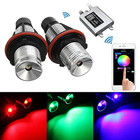 AMBOTHER 2pcs Phare Auto RGB Ampoules Xénon Voiture Wifi Remote