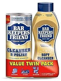 Bar Keepers Friend Cleanser & Polish 21 Oz and Bar Keepers Friend Liquid Soft Cleaner - 26 oz 2 Pack