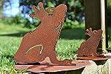 Unbekannt 2 Stück Frosch auf Seerosenblatt Metall Edelrost Rost Rostfigur Deko Dekoration Deko-Idee Dekofrosch Dekotier Rostdeko Gartendeko Geschenk-Idee Geschenk