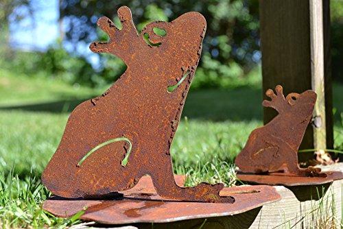 rosch auf Seerosenblatt Metall Edelrost Rost Rostfigur Deko Dekoration Deko-Idee Dekofrosch Dekotier Rostdeko Gartendeko Geschenk-Idee Geschenk ()