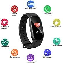 Moneil - Reloj inteligente con monitor de actividad deportiva y deportiva, pantalla colorida, resistente al agua, Bluetooth, silicona, con monitor de sueño, contador de actividad deportiva de calorías, monitor de presión arterial, monitor de ritmo cardíaco, etc. para Android y iOS, negro