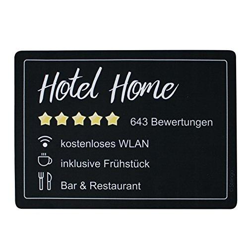 Fußmatte Innenbereich und Außenbereich Tür-Matte mit Spruch Hotel Home Stilingo Fußabtreter Vorleger drinnen und draußen 70x50 cm