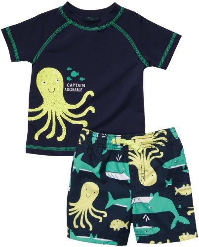 Badeshorts UV Schutz Baby Bademode für Jungen T- Shirt Badehose Sommer Urlaub Strand baden (50/56, blau) (Urlaub Shirts Für Kinder)