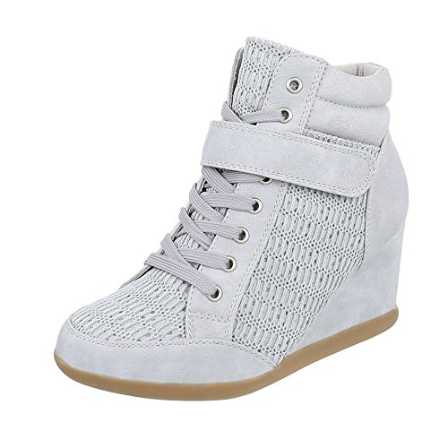 Ital-Design Keilstiefeletten Damen-Schuhe Plateau Keilabsatz/Wedge Keilabsatz Schnürsenkel Stiefeletten Hellgrau, Gr 40, 876-Y-