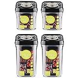 Pioneer Pumpe Fresh Vakuum Seal Kanister Food Aufbewahrung Tupperware Boxen Set von 4, plastik, schwarz, 21.7 x 11 x 30.