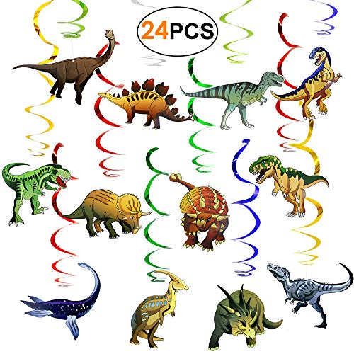 tstag Deko Party Dekoration Partyset Luftschlangen Girlanden 24 Pack Dinosaurier Geburtstagsdeko Deckenhänger Wirbel, Partyzubehör für Jungen Mädchen Kinder ()