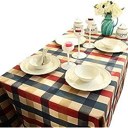 NiSeng Manteles de mesa de algodón A cuadros Manteles Antimanchas Mesa Rectangular Mantel exterior restaurantes Rojo 140x180 cm