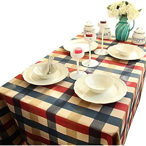 NiSeng Tovaglia a quadri Tovaglia antimacchia rettangolare Tovaglie moderne per ristoranti Tovaglie da tavola in cotone Rosso 140x200 cm