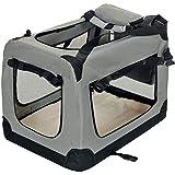 Pet Violet Klappbare Hundebox Hund Transportbox Faltbare Stoff Hundefaltbox Polster Henkel Trage Tasche; 70x52x50 cm Grau