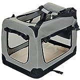 faltbare Hundebox Haustier Transportbox klappbare Autobox 60x42x44 cm gepolstert Katzen Henkel Tragetasche Grau