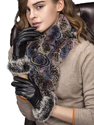 YISEVEN Damen Elegant Lammfelll Lederhandschuhe Kaninchenfell Touchscreen mit Warm Gefüttert Elegant Winter Leder Autofahrer Handschuhe, Schwarz 8.5/XXL