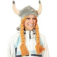 Geschenke mit Namen Regalos con Nombres Vikingo Suave Peluche Gorro, Naranja/Gris, One Size