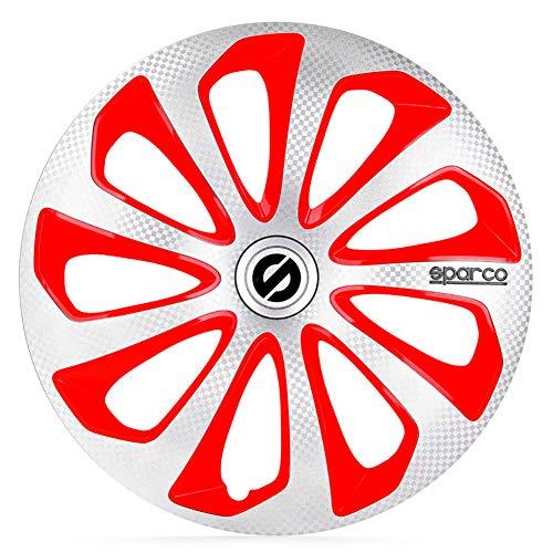 Satz Sparco Radzierblenden Sicilia 16-Zoll Silber/Rot/Karbon