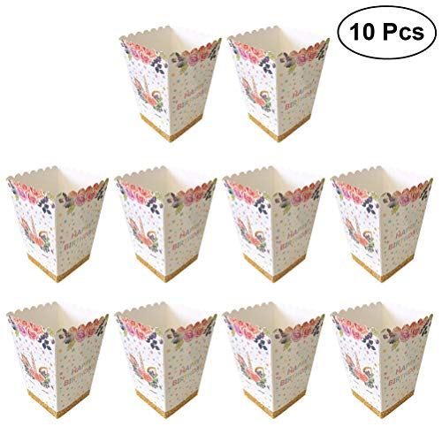 YEAHIBABY Einhorn Popcorn Boxen,Popcorn-Behälter Popcorn Schachtel Kartons für Kinder Geburtstag Einhorn Thema Party Supplies,10 Stück