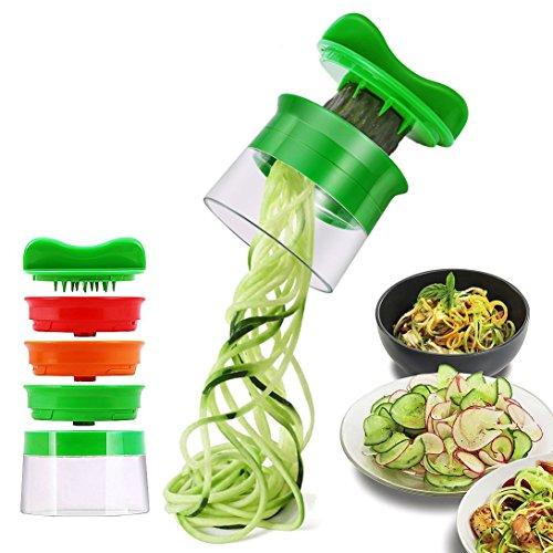 Risseen Spiralschneider Hand für Gemüsespaghetti, 3-Klingen Gemüse Spiralschneider, Gemüsehobel