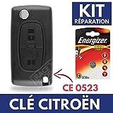 Boitier Clé Télécommande Plip CITROEN C4 Picasso C2 C3 C5 Berlingo Jumper  Pile CR1620 ENERGIZER