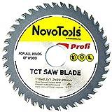 NOVOTOOLS TCT Kreissägeblatt 115 x 22,2 mm x 40 Zähne für Winkelschleifer für alle Holzschnitte
