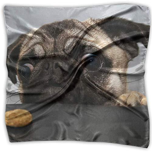 Bikofhd Schal mit Mops-Motiv, Bedruckt, quadratisch, aus Seide, kleines Taschentuch, Bedruckt, 100% Seide