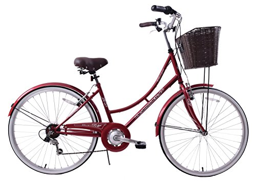Ammaco Classique 26″ Wheel Heritage Traditional Classic Ladies Lifestyle Bike & Basket 19″ Frame Dutch Style Maroon