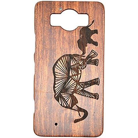 Cassa di Legno di Microsoft Lumia 950, PhantomSky[Serie di Lusso] Qualit à Premium Cover in Bambù / Legno Naturale per il tuoSmartphone - Elefante Legno Rosa(Rose Wood Elephant)