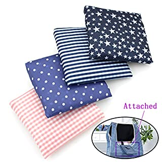 Colorful Adorable Styles Reusable Shopping Tote Travel Recycle Grocery Bags - Fold-able to Save Space - Set of 4