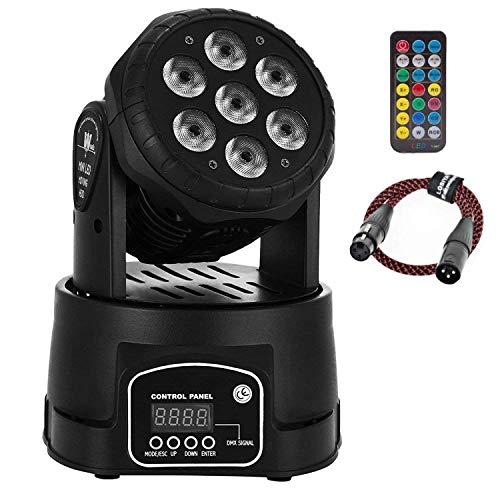 AONCO 100W DMX512 LED Lichteffekte Discolicht Mini 4 in 1 RGBW Partylicht mit Professionell 9/14 5 Control Mode Moving Head für DJ, Disco,Club Partei,Draussen (mit Fernbedienung und DMX-Linie)