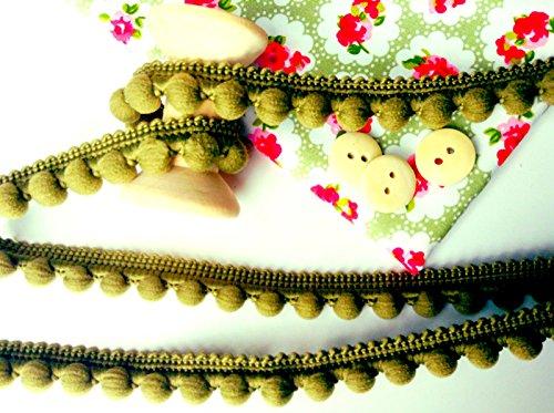 HomeBuy - Passamaneria con pompon, finiture di ottima qualità, dimensioni 10 mm (mini) x 1 m, colore: verde oliva