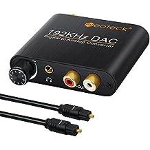 neoteck 192KHz DAC de aluminio conversor de audio digital óptico coaxial a Slink a analógico estéreo izquierda/derecha RCA 3,5mm Jack Audio Adaptador Convertidor para PS3Xbox HD DVD PS4Sky HD de plasma de Blu-ray Cine en casa