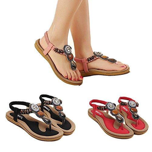 Chaussures Femme Ete 2016 Sandales Doux Fashion perlée clip Toe Flats Femmes Sandales Herringbone Bohême