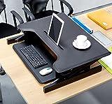 Faltbarer Laptop Schreibtisch Ergonomisches Heben Computer Table Stand-up Mobile Computer-Tisch mit Kartenschlitz, Schwarz und Weiß Optional,Black