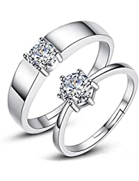 Attractive Sterling Silver Swarovski Crystal Adjustable Couple Rings