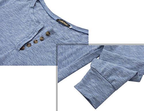 Yidarton Long Shirt Damen Bluse Tunika Tops Strick Casual Pullover Oberteil Herbst Langarm Shirts Kleid Blau