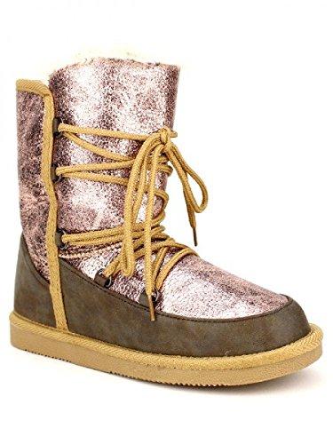 Cendriyon, Boots Fourrée UGGUS Colors Champagne rosé Chaussures Femme Rose
