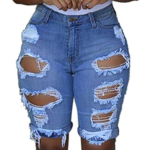 Crazboy Damen elastische Leggings mit Destroyed Shorts Kurze Hose Denim-Shorts Zerrissene Jeans(Large,Blau)