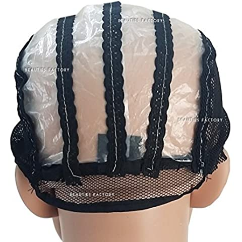 Beauties Factory Black Adjustable Straps DIY Wig Weaving Cap Signature Lines Positioned at the back by Beauties Factory