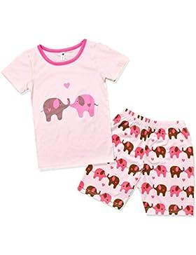 Little Hand Mädchen Pyjama Kurz Ärmel Kinder Sommerkleidung Kids Zweiteiliger Schlafanzug Elefant Baumwolle 98...