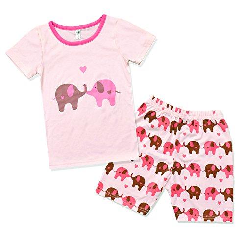 Little Hand Mädchen Pyjama Kurz Ärmel Kinder Sommerkleidung Kids Zweiteiliger Schlafanzug Elefant Baumwolle (3-4 Jahre)/104 (Schlafanzug Für Kids)