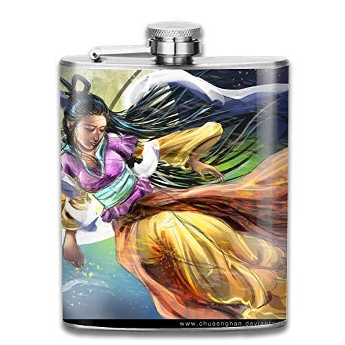 Künstlerische orientalische Vollmond-traditionelle Kostüm-Frau 7oz Taschenflasche-Edelstahl-Alkohol-Flachmann-gut eingewickelter kühler Wisky-Wein-Topf Flagon - Personalisierte Wein-kühler