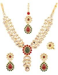 Touchstone Indian Bollywood Mughal Era Faux Ruby Emerald Kundan Look Bridal Designer Jewelry Necklace Set In Gold...