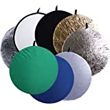 CowboyStudio 8-In-1 43-Inch Round Collapsible Disc Reflector with Translucent White Black Blue Green Gold and Silver