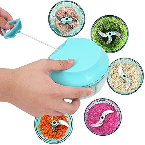 Zhuhaimei,Ziehen Sie String Chopper Manuelle Küchenmaschine für Obst Gemüse(color:MACAW BLUE GREEN)