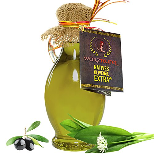 Bärlauchöl. Bärlauch - Gewürzöl. Natives Olivenöl mit naturreinem Bärlauch - Extrakt und reinen, ätherischen Gewürzölen. Flasche 250ml.