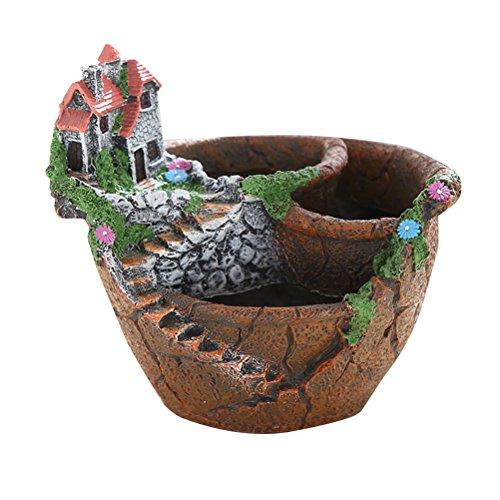 Yardwe Kreativer Blumentopf Fairy Garden Broken Flower Pot Süßes Haus Sukkulenten Pflanzer für die Dekoration -