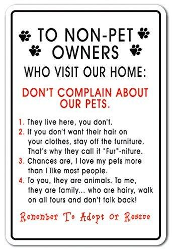 Neuheit Zeichen, Geschenk zu non-pet Eigentümer, die Besuchen Sie auch unseren Home Animal House Hunde Katzen Yard Dekorative Aluminium Metall Schild für Schlafzimmer, Büros