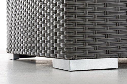 CLP flexibles Poly-Rattan 3er Lounge-Sofa SOLANO, ALU-Gestell, 4 Rattanfarben + 5 Kissenfarben, inkl. Auflagen Rattanfarbe: Grau, Kissenfarbe: Eisengrau - 6