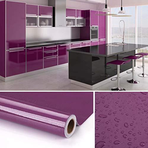 KINLO 5 * 0.61M Stickers Frigo Auto-Adhésif Violet Armoire de Cuisine en PVC Imperméable Style Moderne Stickers Autocollant Muraux Étanche Décoration Chambre Salon Meuble
