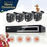 Anni CCTV caméra de surveillance 4CH 1080N Kit AHD DVR avec 4 caméras 1080p 2.0MP Outdoor Kit de Vidéosurveillance, alarme de capteur de gaz intégré, détection de corps PIR, Siren Sounds, vision nocturne, NO HDD
