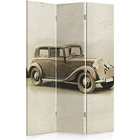 Feeby Frames Biombo impreso sobre lona, tabique decorativo para habitaciones, a doble cara, de 3 piezas, 360° (110x150 cm), AUTOMÓVIL, COCHE, COSECHA, MERCEDES BENZ W143, SEPIA