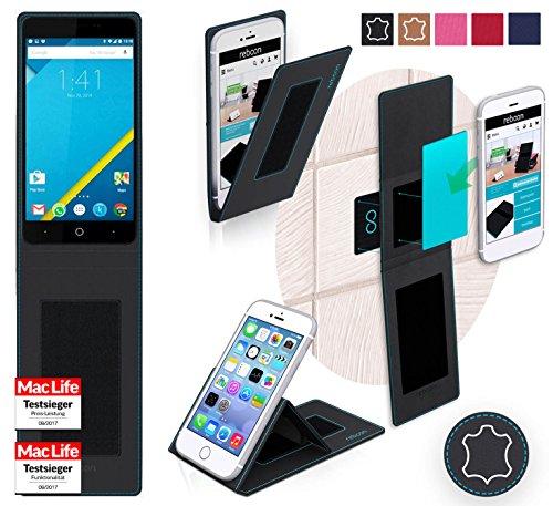 reboon Hülle für Elephone P6000 Pro Tasche Cover Case Bumper | Schwarz Leder | Testsieger